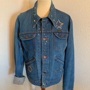 VTG Wrangler Celestial Jeweled Jean Jacket L XL 70